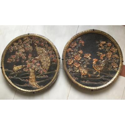 Pair Of Japanese Plates XIXth In Terra Cotta