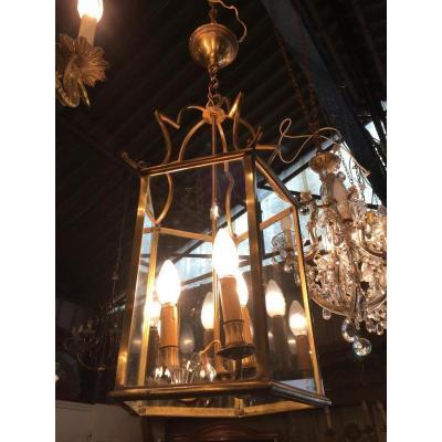Lanterne à 5 Pans En Bronze Et Laiton Doré