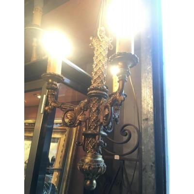 Chandelier Bronze Chiseled Nineteenth Gothic Revival