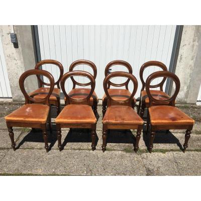 Série De 8 Chaises De Style Anglais En Acajou et Hêtre, Assise Cuir