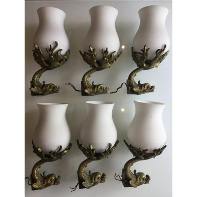 6 Dauphin Wall Lamps In Bronze And White Glass