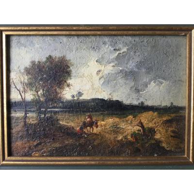 Huile Sur Bois, Paysage De Campagne Début 1900, âne, paysan...