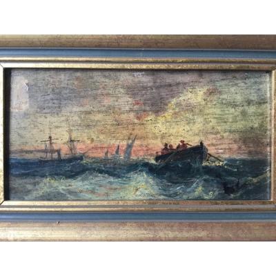 Marine Début 1900, Huile Sur Bois Représentant Des Bateaux Sur Une Mer Agitée