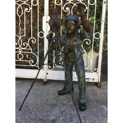 Important Sujet En Bronze à Patine Brune XXème