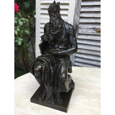 Important Bronze XIXth, Moses According To Michelangelo, Signed F. Barbedienne