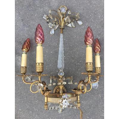 Paire D'appliques De Style Louis XVI En Bronze Doré Et Pampilles De Cristal