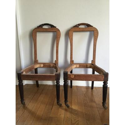 Pair Of Chairs / Fires XIXth Restoration Period, Stamped Jeanselme