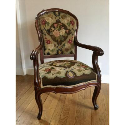 Mahogany Armchair Upholstered Embroidery Floral Decor, Napoleon III