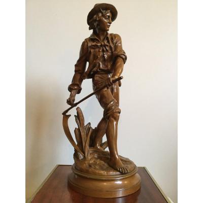"Subject In Bronze XIX ""the Reaper"" Signed Eugène-antoine Aizelin (1821-1902)"