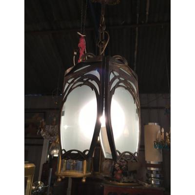 Lanterne De Vestibule En Bronze De Style Art Nouveau