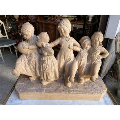 Group Of Terracotta Children Signed Capaldo