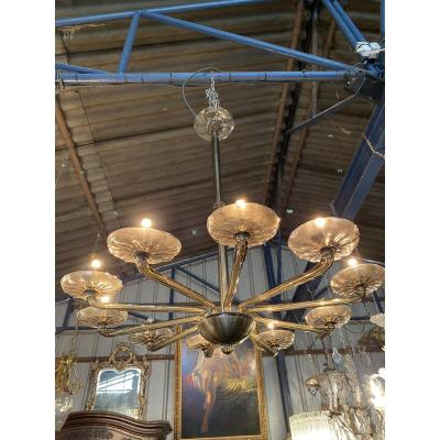 Large Italian Chandelier Design In Smoked Glass, 10 Lights, Around 1970