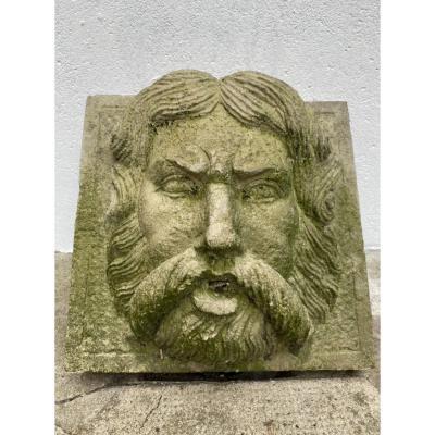 Crachoir De Fontaine En Pierre Reconstituée, Visage D'homme, Jardin