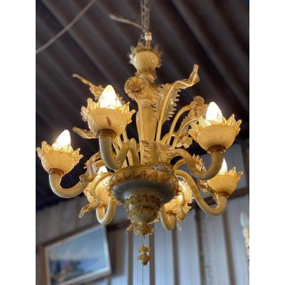 Venetian Chandelier In Beige And Amber Colored Glass, 6 Lights