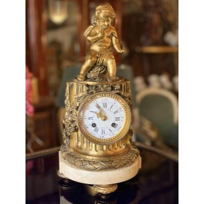 Pendule Au Cupidon En Bronze Et Marbre De Style Louis XVI, époque XIXème