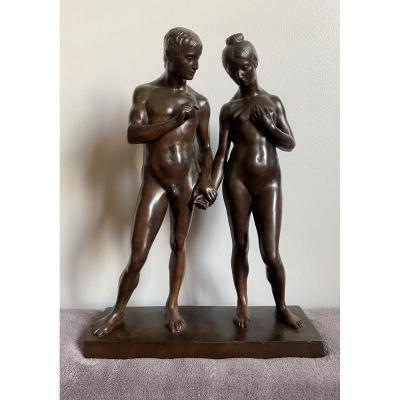 Adam And Eve, Human Couple, Old Bronze Signed Márk Vedres (1870-1961)
