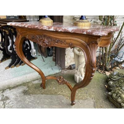 Louis XV Style Console In Walnut, Red Marble Top, 1900s