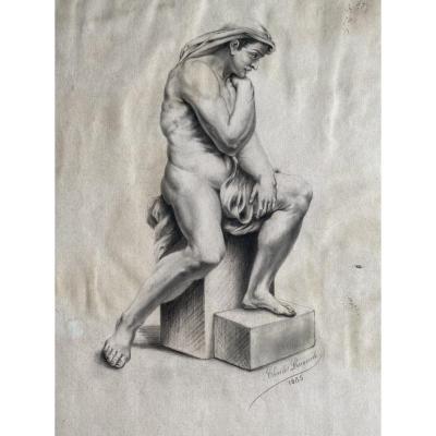 Dessin Au Crayon, Nu Masculin Académique XIXème signé Émile Charles Hyppolite Lecomte Vernet (1821-1900)