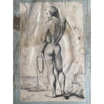 Pencil Drawing Of A Naked Academic Man By Émile Charles Hyppolite Lecomte Vernet