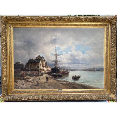 Grand Tableau XIXème, Vue Animée Port De Dieppe, Attribué à Jules Bahieu (1847-1895), Normandie