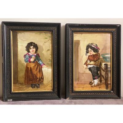 Paire De Peinture Sur Plaques De Porcelaine, Portraits D'enfants Signés Hélène Caber  1863