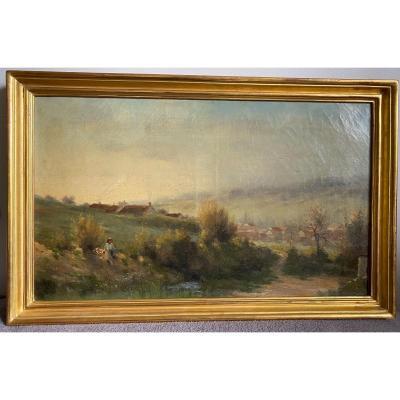 Paysage De Campagne Fin XIXème, Pêcheur à La Rivière, Signé Georges Lavaux, Cadre Doré