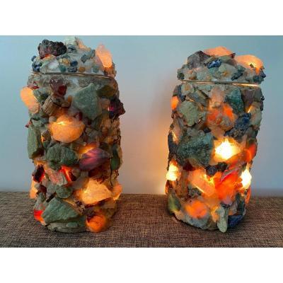 Pair Of Brazilian Lamps Circa 1970, In Plaster And Semi-precious Stones