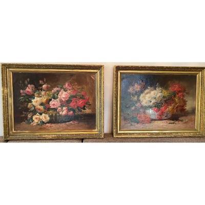 Large Pair Of Flower Paintings, Signed Emile Godchaux (1860-1938)