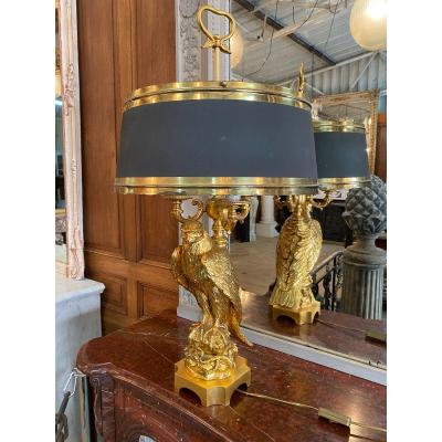 Empire Style Hot Water Bottle Lamp Decorated With An Eagle In Gilt Bronze, Metal Shade