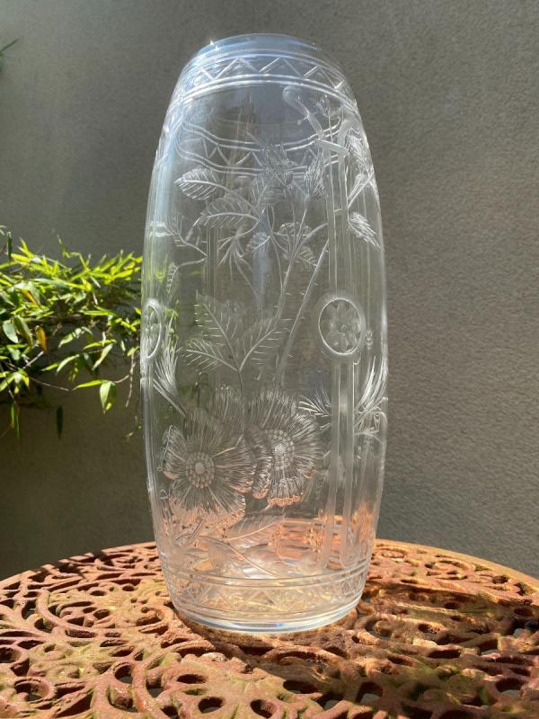 Vase En Cristal De Baccarat Gravé, époque 1900-photo-3