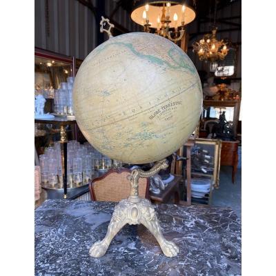 Terrestrial Globe End XIXth On Foot Claw In Cast Iron, By J. Lebègue Paris
