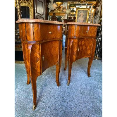 Pair Of Trilobed Commodes In Louis XV Style Marquetry