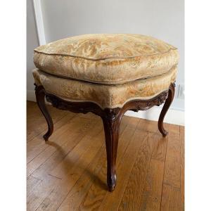 Louis XV Style Stool / Pouf In Walnut, 1900s