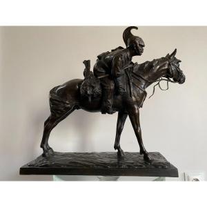 Bronze Rider Signed Francesco Ferruccio Crespi (1861-1891) Savoy, Italy