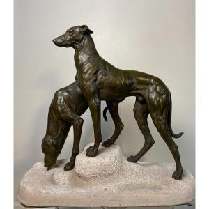 Art Deco Greyhound Group Signed Jules Edmon Masson For Max Le Verrier