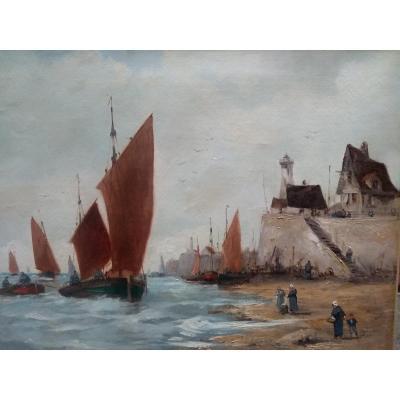 Painting Gulf Of Morbihan End XIX Eme