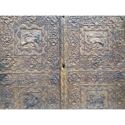 2 Ancient Doors Golden Bas Relief Southeast Asia