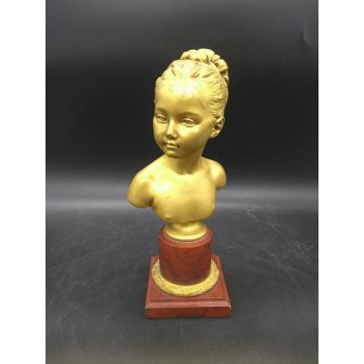 Buste De Louise Brongniart Bronze Doré