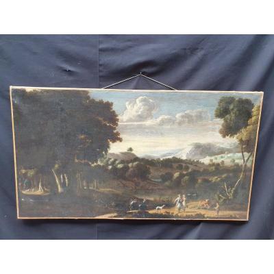 Peinture XVIII éme Paysage Animé