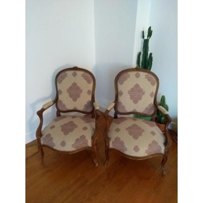 Pair Of Louis XV Cabriolet Reupholstered XIX Eme