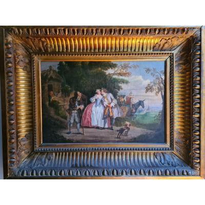 Paire De Tableaux 18eme Dans Le Goût De Watteau