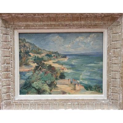 Mediterranean Landscape Oil On Panel Of Chatian