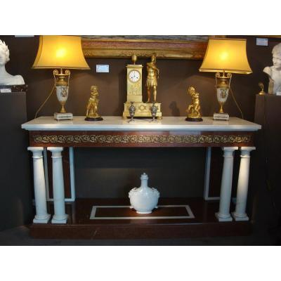 Marble Console With Detached Columns - Italian Work