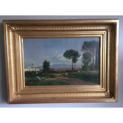 Paysage Italien Signé Julius. O. Montalant  1823 - 1898