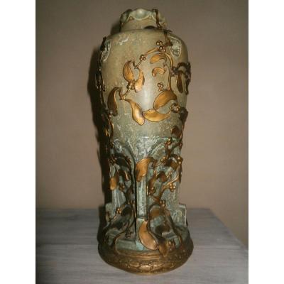 Vase Art Nouveau En Grès à Monture En Laiton