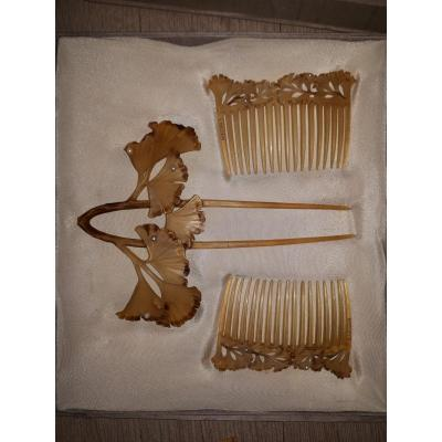 Coffret 3 Peignes Lucien Gaillard, Contemporain De René Lalique