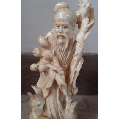 Okimono Chinois En Ivoire, Fin De La Dynastie Qing
