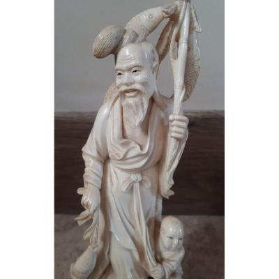 Okimono Chinois En Ivoire N°2, Fin De La Dynastie Qing