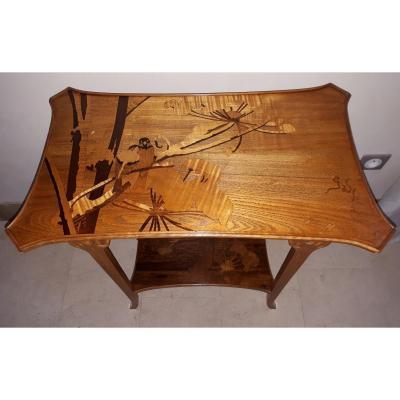 Table Art Nouveau Gallé à Décor d'Ombelles