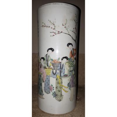 Vase Chinois De Forme Rouleau, Chine Début De La Période République
